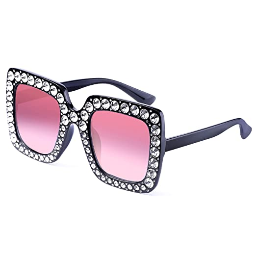 74bb2f4bf Image Unavailable. Image not available for. Color: Oversized Crystal  Sunglasses for Women- Feirdio Mirrored ...