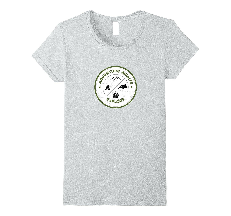Adventure Mountain Distressed T Shirt Heather-Teechatpro