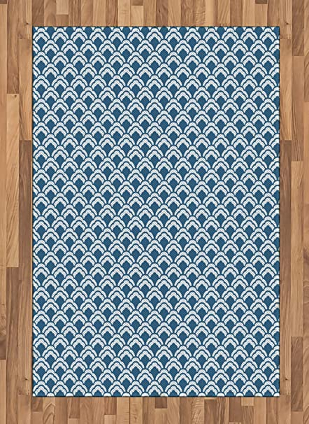 Amazoncom Ambesonne Blue Area Rug Abstract Chinese Pattern With