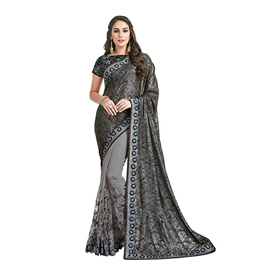 d0bdcb7a0ca782 Black, Grey Net,Lycra Thread, Cord and Sequins embroidery Latest Designer Party  Wear Saree: Amazon.in: Clothing & Accessories