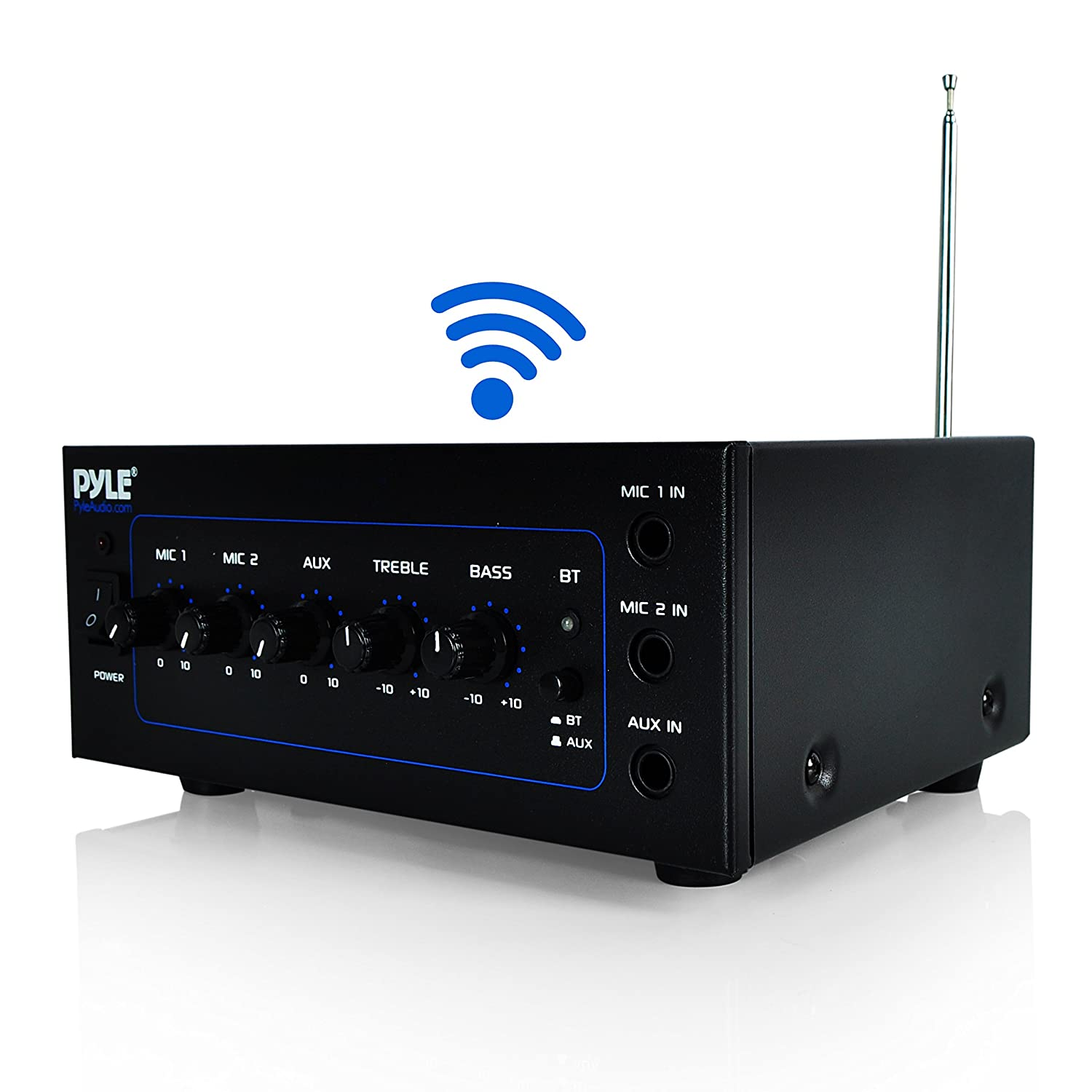 Upgraded Version Pyle Bluetooth Speaker Amplifier | Power Amp W Wireless Streaming | 40 Watt W 2 Microphone Inputs | Mic Talkover | Transformers Speaker Output: 25V/70V | DJ Equipment (PCM211BT) 4334197065