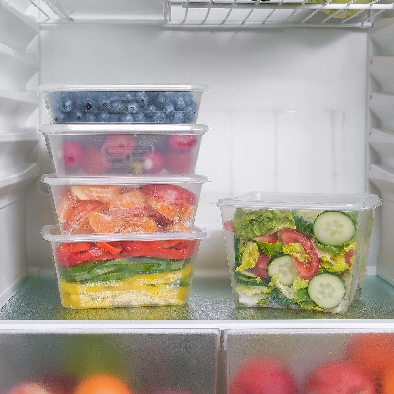 frigor/ífico y congelador sin BPA Paquete de 10 recipientes rectangulares de pl/ástico para alimentos a prueba de fugas 500 ml lavables reciclables con tapas aptos para microondas