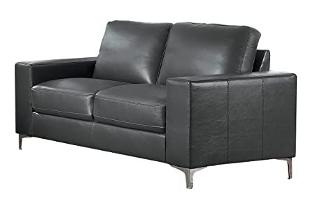 Homelegance Track Arm Loveseat with Metal Accent Leg Leather Gel Match, Grey