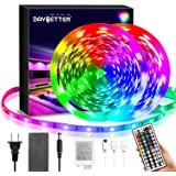 DAYBETTER Led Strip Lights 40FT, RGB Flexible Led Lights for Bedroom with 44Keys IR Remote Control and 12V Power Supply…