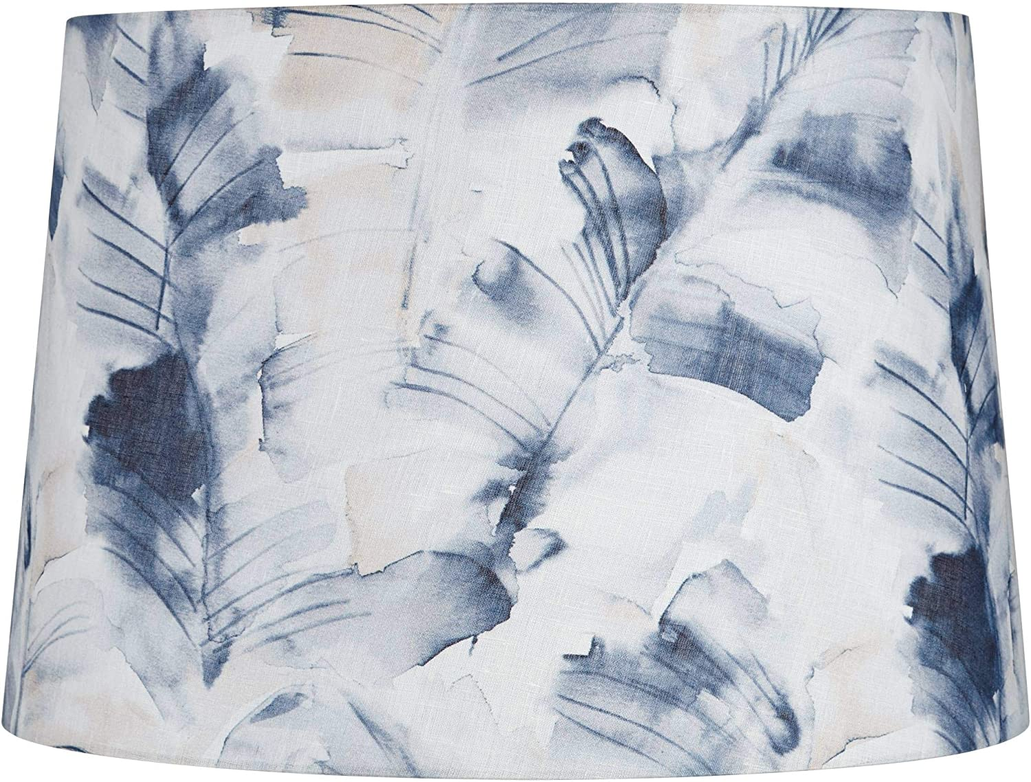 Blue Watercolor Palm Leaf Drum Lamp Shade 14x16x11 (Spider) - Springcrest