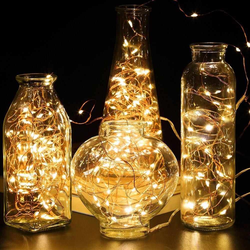 10*Warmwei/ß SiFar 10 St/ück 2M 20 LEDs Mini Kupferlampe Warmwei/ß Mit Batteriebetriebene LED Lichterketten Weihnachten FlaschenLicht Lichterketten f/ür Flasche DIY Dekor Party