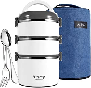 Mr.Dakai Bento Box Adults Lunch Box with Insulated Lunch Bag Spoon Fork, 3-Tier Stainless Steel Stackable Thermal Food Storage Container for Healthy On-the-Go Meal and Snack Packing (White & Gray)