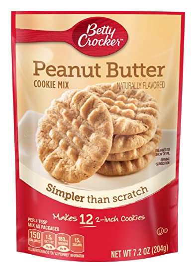 Betty Crocker Cookie Mix Peanut Butter Snack Size Makes 12 Cookies 7 2 Oz Pouch