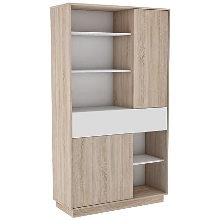 Miroytengo Aparador Alto Cocina Mueble microondas Auxiliar Blanco y Roble Puertas cajón y Huecos 181x101