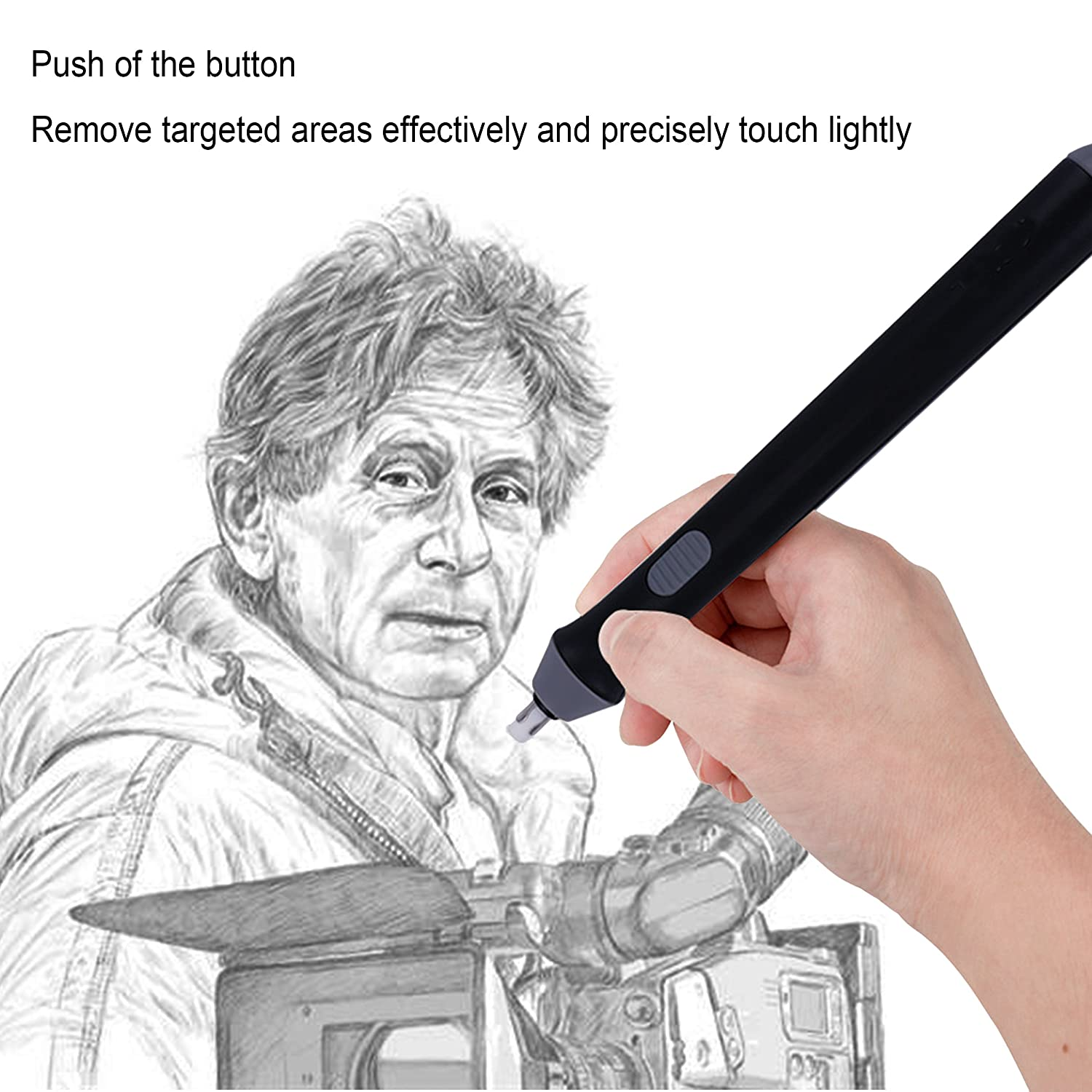 Drafting(Black) Painting Sketching iztor Electric Eraser Battery Operated Pencil Auto Eraser for Artist Drawing