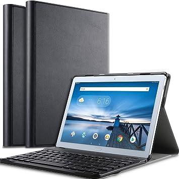IVSO Teclado Estuche para Lenovo Tab P10 [QWERTY], Slim Stand Funda con Removible Wireless Teclado para Lenovo Tab P10 10.1 Pulgadas, Negro: Amazon.es: Electrónica