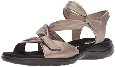 2d4a7bae1eae4b CLARKS Women s Saylie Moon Sandal Pewter Metallic Leather 5 Medium US