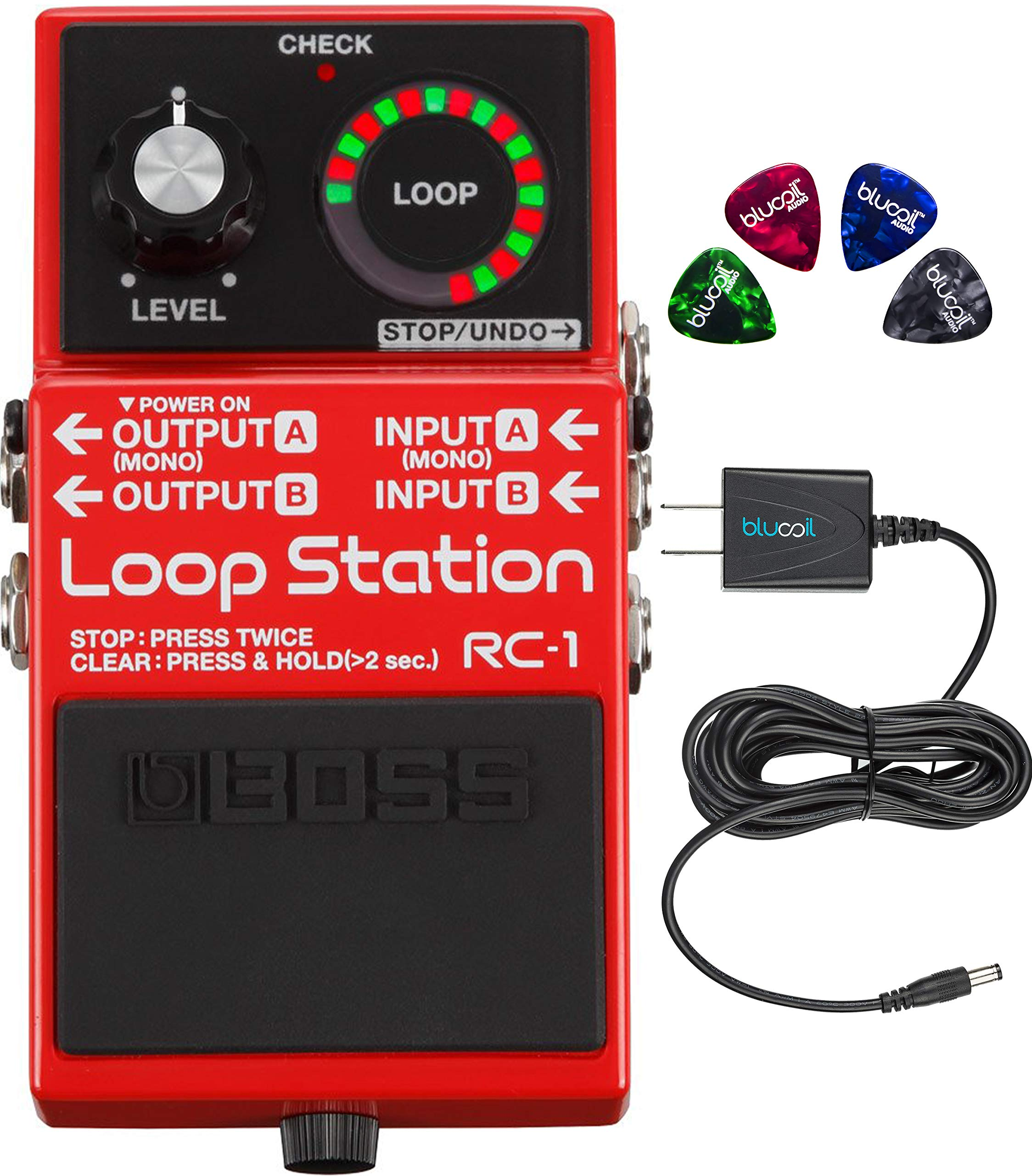 Boss RC-1 Stereo Loop Station Bundle with Blucoil Slim 9V Power Supply AC Adapter and 4-Pack of Celluloid Guitar Picks by blucoil