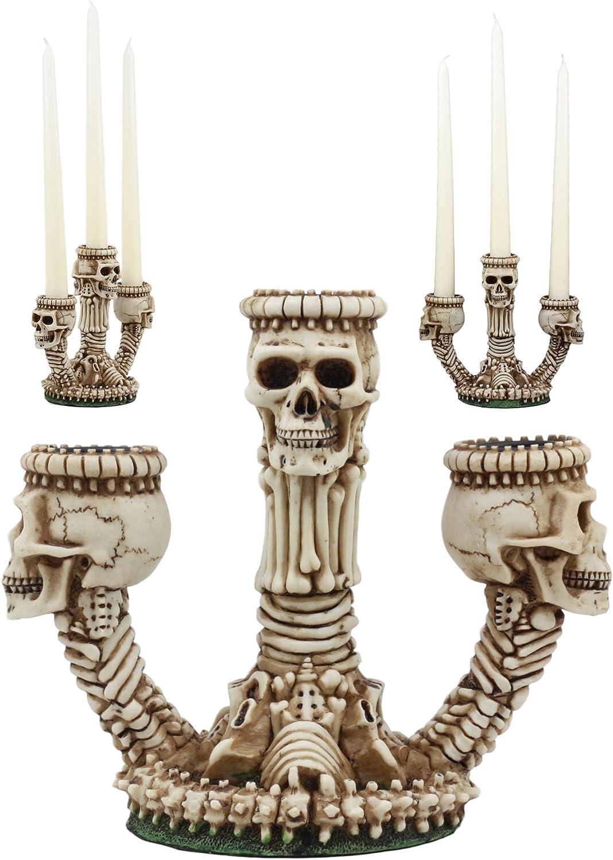Ebros Gothic Trio Ossuary Graveyard Skulls and Skeleton Bones Candelabra Candle Holder Statue Wicked Skeletal Altar Shrine Figurine