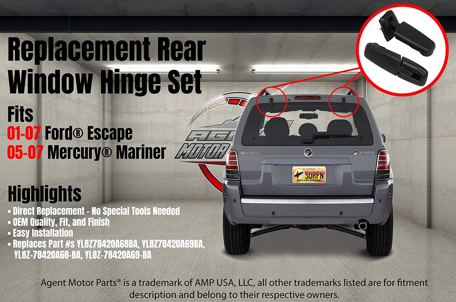 2007 2006 2003 Fits Ford Escape 2001 YL8Z-78420A68-BA 2004 Mercury Mariner 2005-2007 Rear Window Hinges Kit Liftgate Glass Hinge Set 2005 Replaces# YL8Z78420A68BA YL8Z78420A69BA 2002
