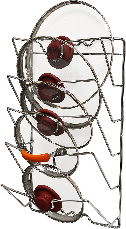 DecoBros Wall Door Mounted Pot Lid Rack, Chrome Finish: Kitchen Pot Racks: Kitchen & Dining
