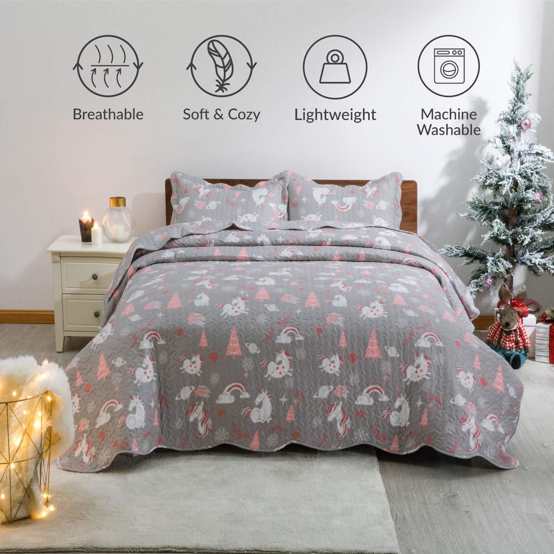 Lightweight Microfiber Bedspread Coverlet Quilt for All Season, 1 Quilt and 2 Pillow Shams