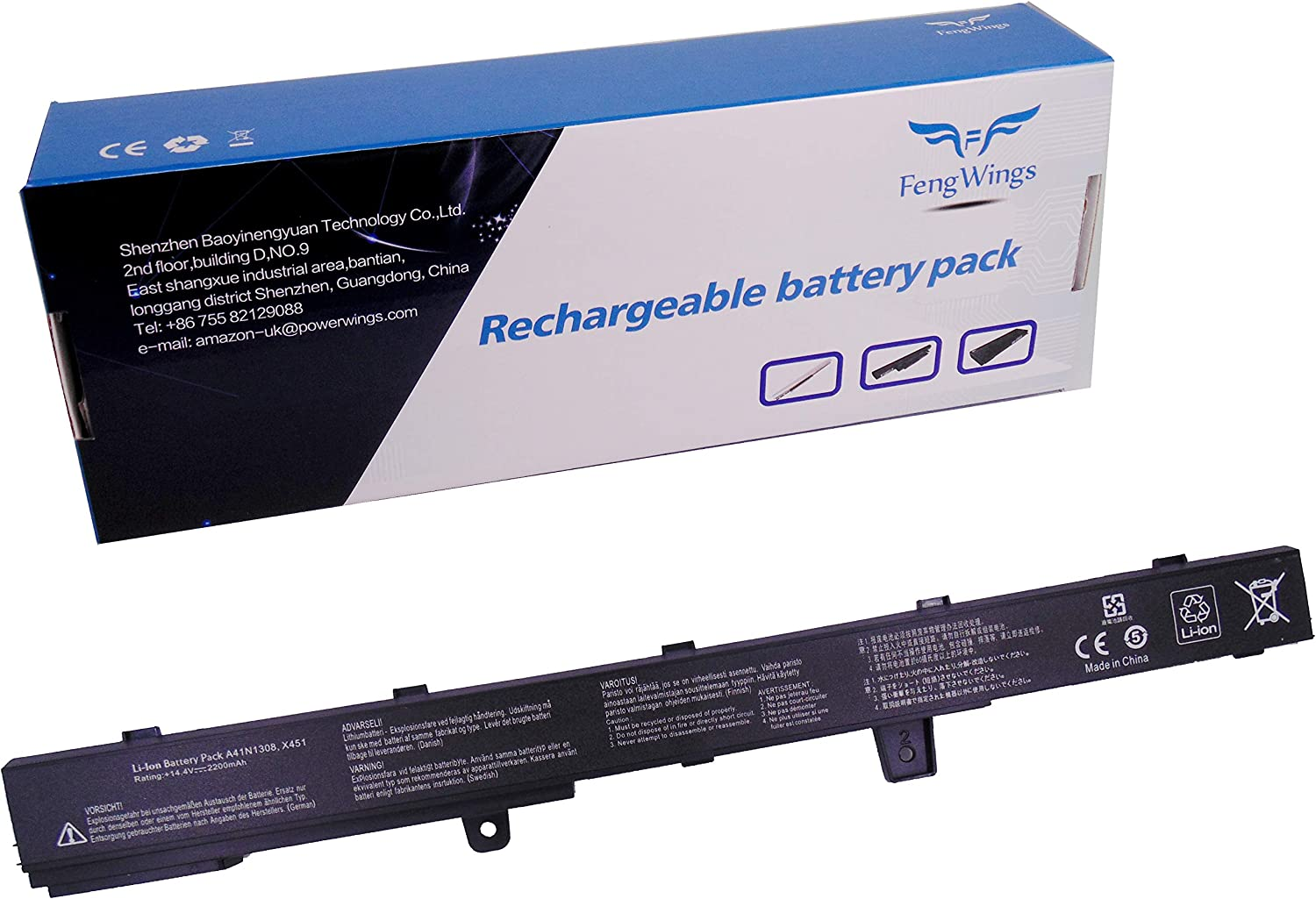 FengWings® 2200mAh A31N1319 A41N1308 batería Compatible con ASUS ...