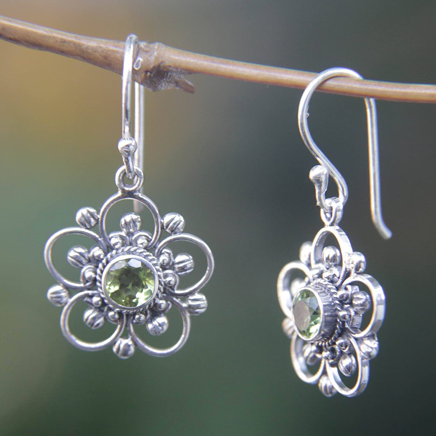 NOVICA 925 Sterling Silver and Peridot Flower Dangle Earrings, Nature s Gift