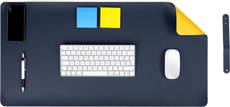 MyGadget Vade Protector de Escritorio en Cuero PU 60 x 30 cm - Alfombrilla Antideslizante en Piel Ecológica para Mesa Gaming Ordenador - Amarillo y Azul