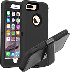 Co-Goldguard iPhone 7 Plus / 8 Plus Case Heavy Duty 4 in 1 Built-in Screen Protector Durable Cover+Belt Clip Holster Dust-Proof Shockproof Drop-Proof Shell for iPhone 7+/8+,Black