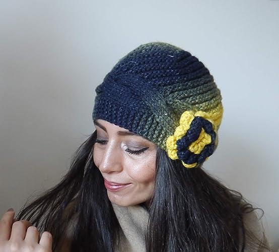 8306e9461d5b2 Amazon.com  Beanie-Hat-women beret-hand-knitted  Handmade