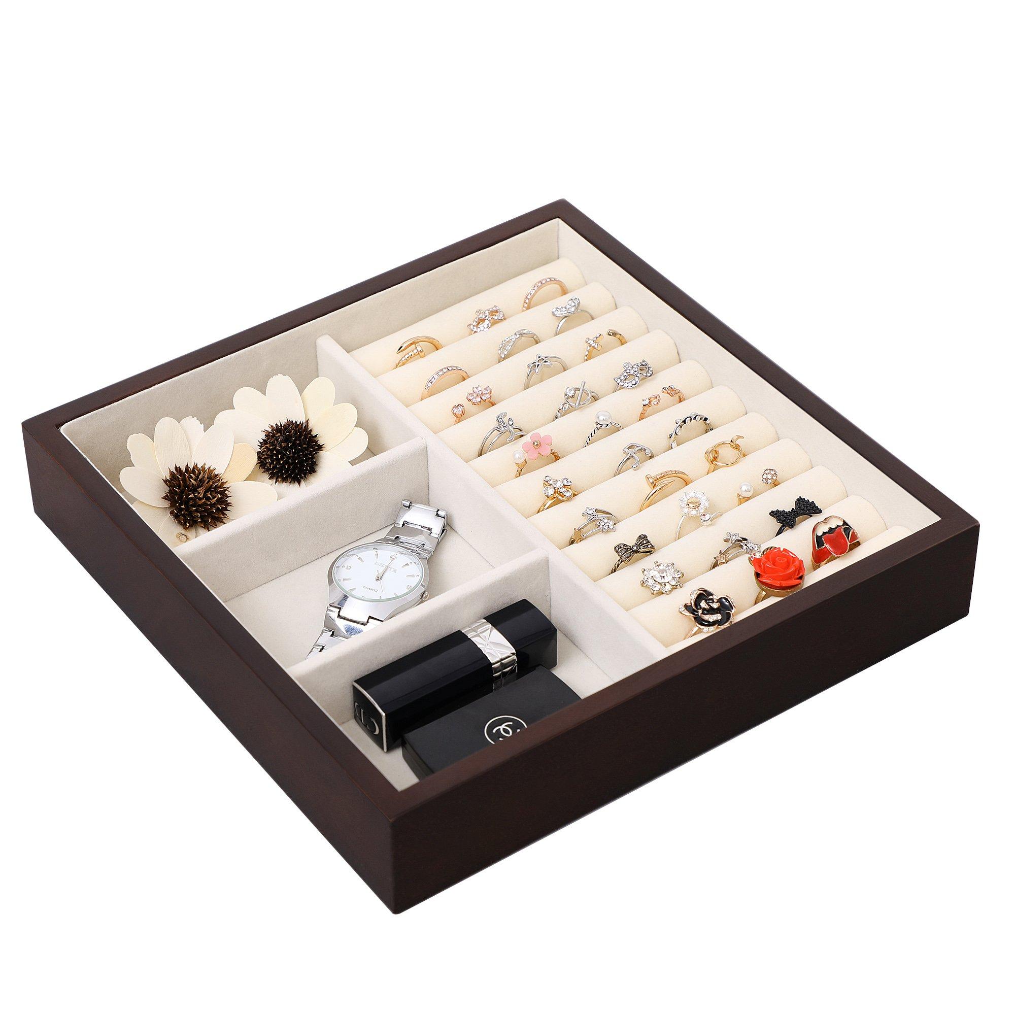 SONGMICS Large Jewelry Armoire Cabinet Standing Storage Chest Neckalce Organizer Dark Walnut UJJC14K by SONGMICS (Image #9)