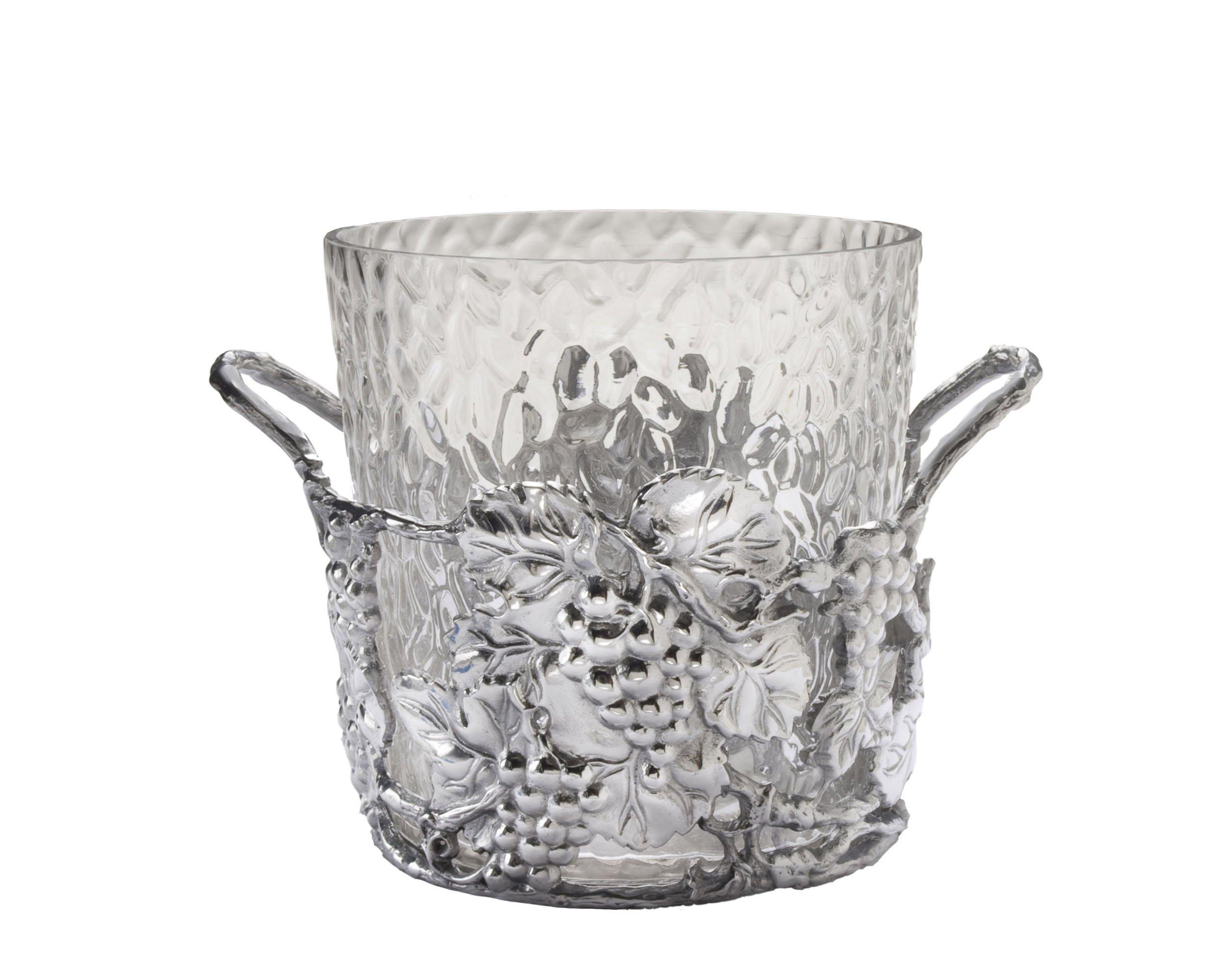Arthur Court Designs Aluminum Glass Grape Champagne Bucket - Diameter 10.5'' Height: 9''