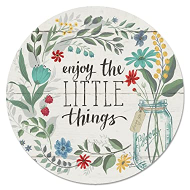 CounterArt 13-Inch Glass Lazy Susan Turntable Serving Plate, Enjoy the Little Things-Floral