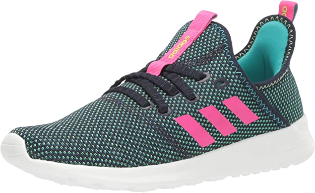 adidas Women's Cloudfoam Pure Running Shoe, Legend Ink/Shock Pink/Hi-Res Yellow, 5 Medium US