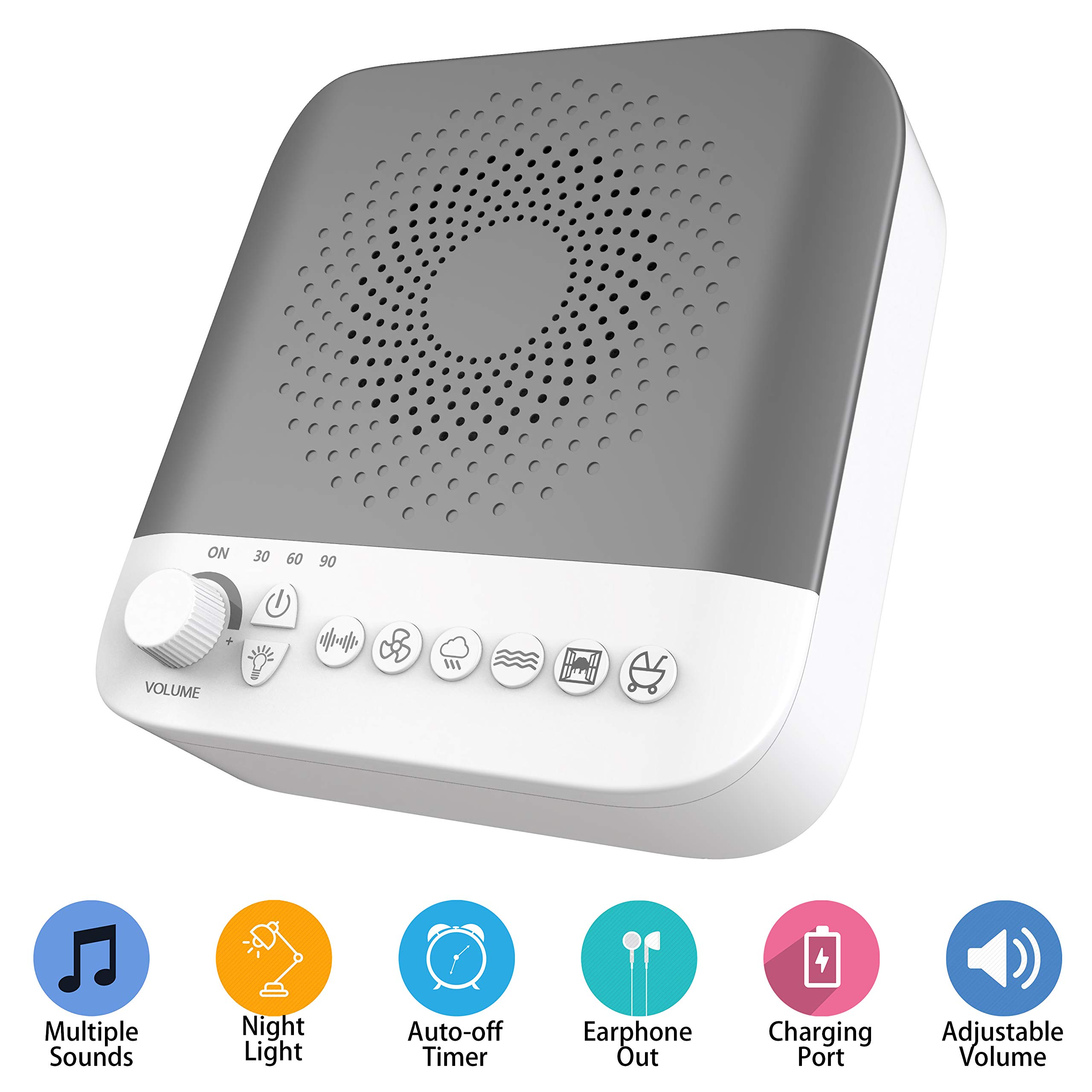 White Noise Sound Machine with 17 Nature Sounds, 7 Gears Adjustable LED Night Light, USB Output Charger, Adjustable Volume, Headphone Jack and Auto-Off Timer (Grey)