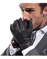 MATSU Men Winter Warm Deerskin Leather 100% Cashmere Lined Motorcycle Driving Dress Leather Gloves M1066