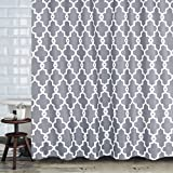 Shower Curtain Set – Moroccan Geometric Pattern Bath Shower Curtain with Hooks Simple Plain Bathroom Accessories – Wrinkle and Mildew Resistant, Waterproof Fabric, 72 by 72 inches (Medium Grey)