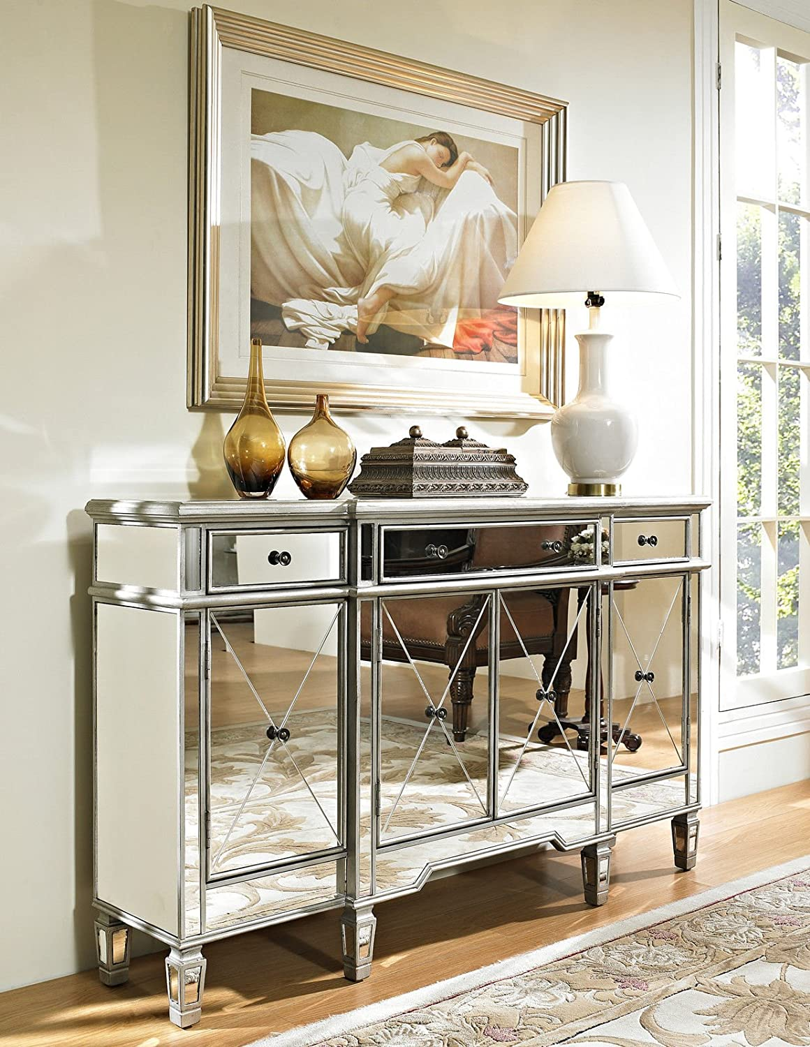 Delicieux Amazon.com: 60u201d Mirrored Reflection Andrea Hall Console Cabinet Model  DH 695: Kitchen U0026 Dining