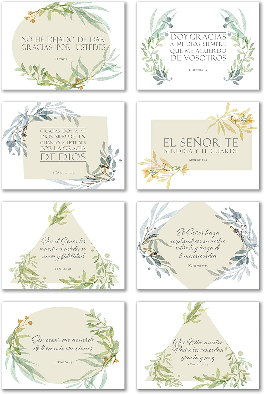Pack de 48 tarjetas y sobres con versículos de la biblia