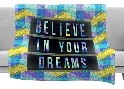 Kess InHouse AlyZen Moonshadow Today is What You Make It 1 Pink Blue Typography Throw 60 x 40 Fleece Blankets