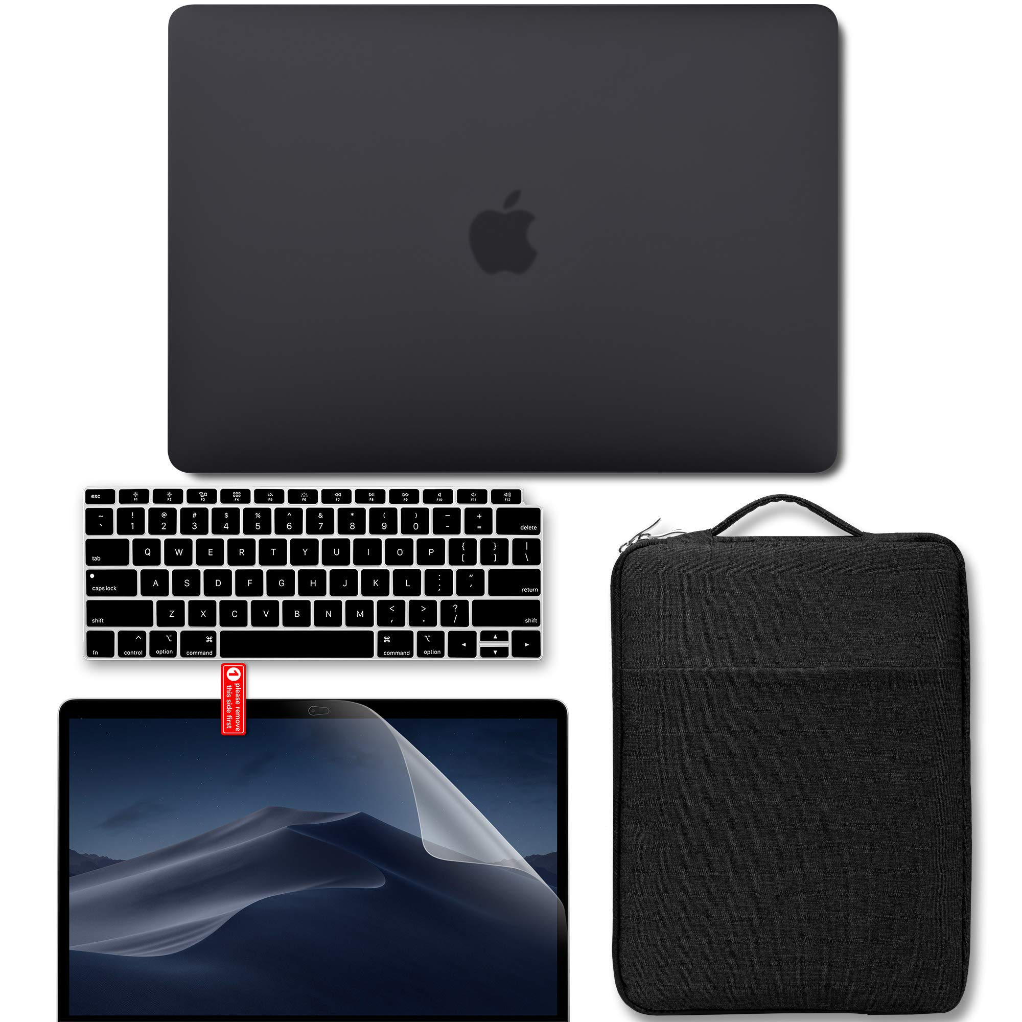 GMYLE New MacBook Air 13 Inch Case A1932 2018 Compatible Touch ID Retina Display 4 in 1 Bundle, Hard Shell, Carrying Laptop Sleeve, Screen Protector, Keyboard Cover Set - Black