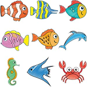 63 Pieces Sea Animals Cutouts Fish Cutouts Tropical Fish Accents Colorful Fish Accents with Glue Point Dots for Classroom Decor Bulletin Board Ocean Themed Party Baby Nursery Kids Bedroom