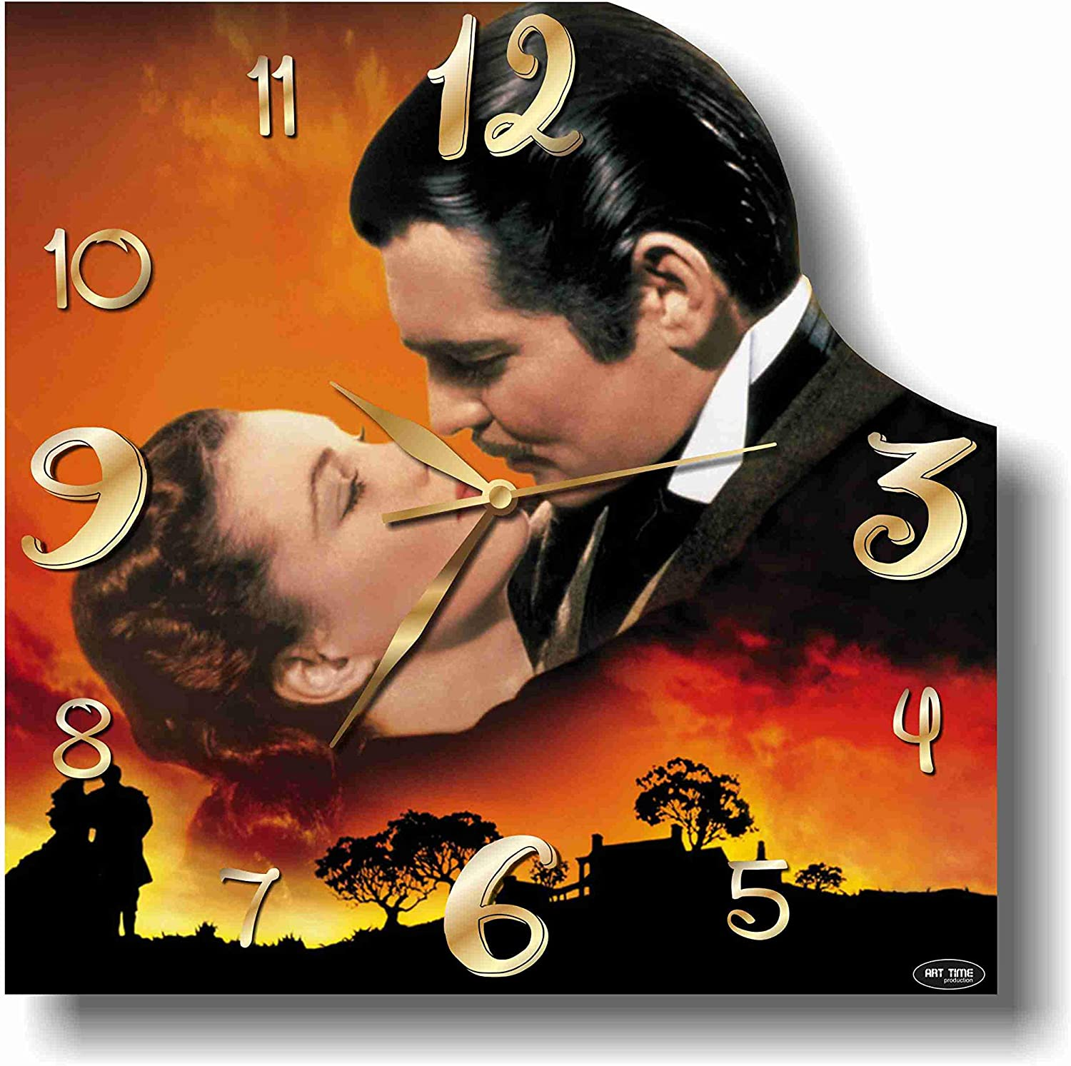 Art time production Gone with The Wind 11'' Handmade Wall Clock - Get Unique décor for Home or Office – Best Gift Ideas for Kids, Friends, Parents and Your Soul Mates