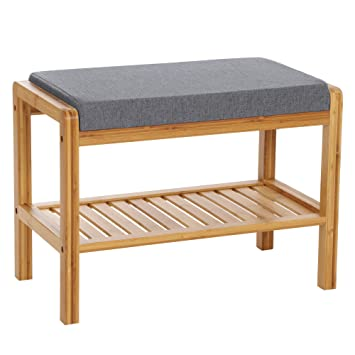 SONGMICS Bambus Sitzbank, Schuhschrank mit Sitzkissen,Schuhregal ...