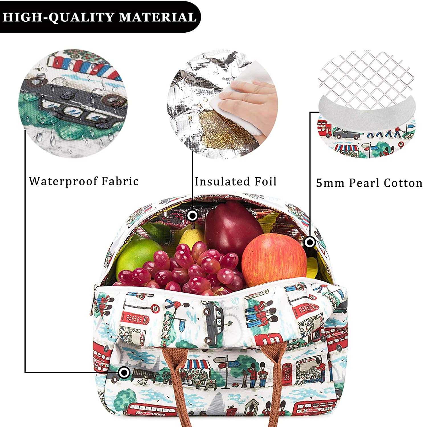 Insulated Lunch Bags for Women Cooler Tote Bag with Front Pocket Lunch Box Reusable Lunch Bag for Men Adults Girls Work School Picnic Ballerina Girl