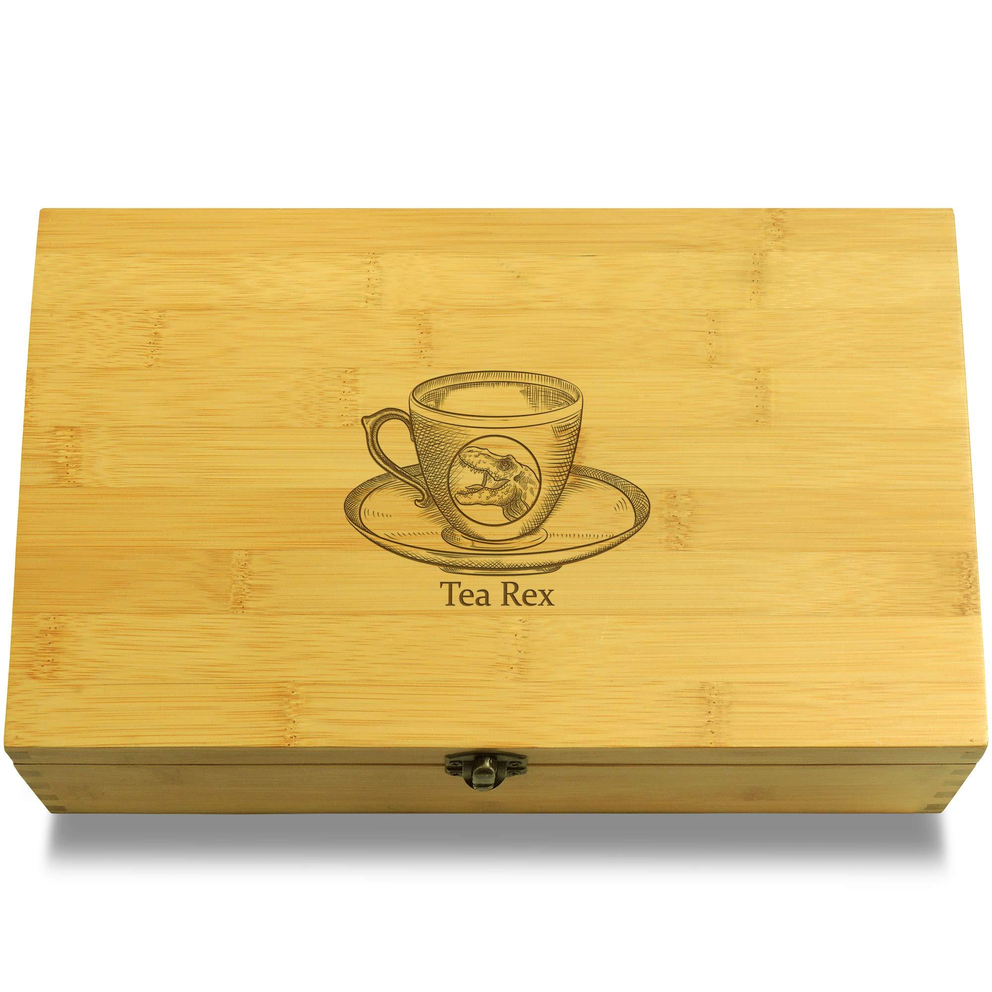 Cookbook People Tea Rex Multikeep Teabox - Decorative Bamboo Wood Adjustable Organizer