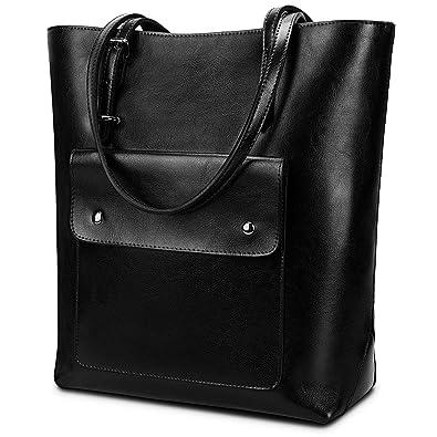 c211afd1e YALUXE Women's Front Pocket Vintage Style Soft Leather Work Tote Large  Shoulder Bag Black