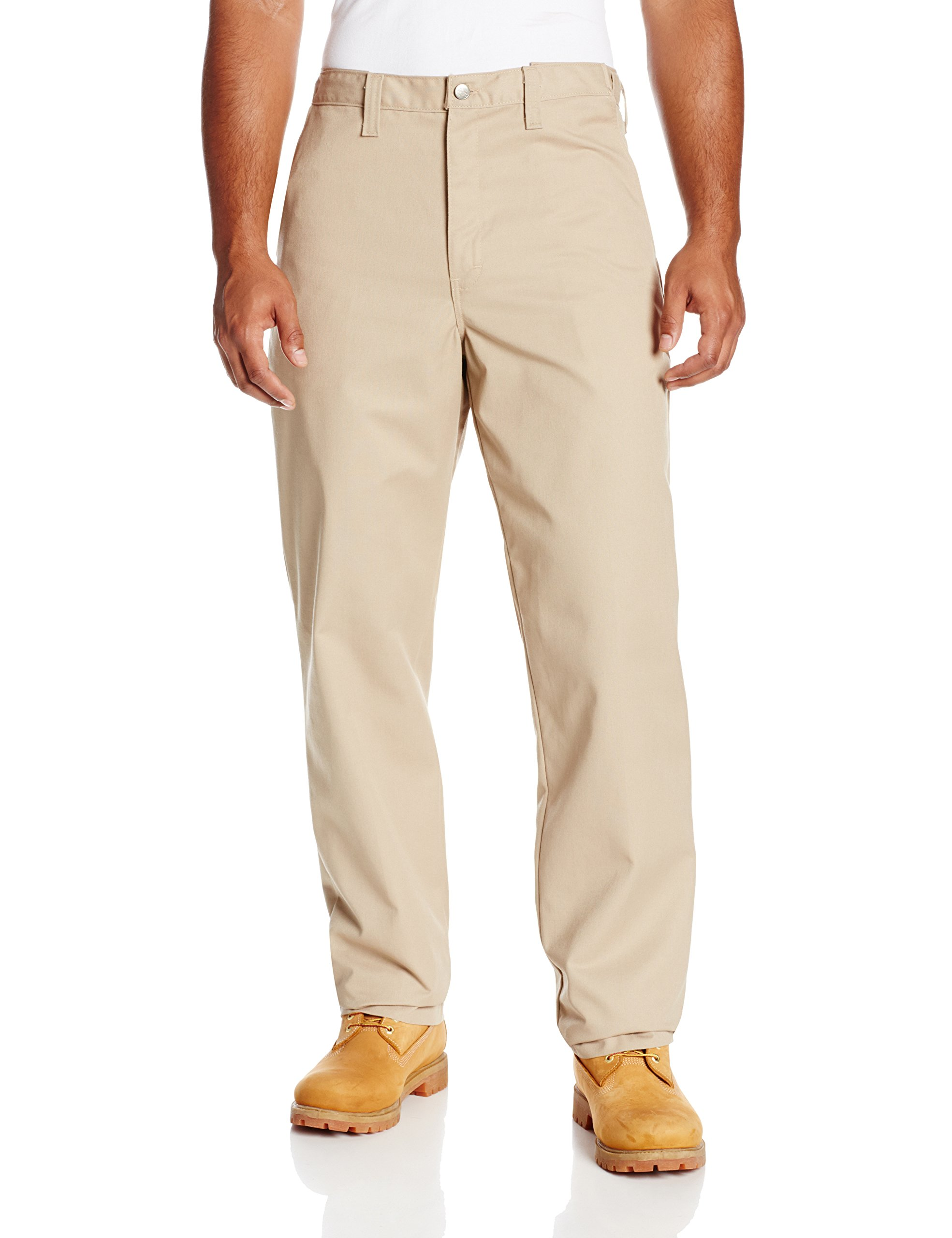 Dickies Occupational Workwear LP700DS 42x34 Polyester/ Cotton Relaxed Fit Men's Premium Industrial Flat Front Comfort Waist Pant with Straight Leg, 42'' Waist Size, 34'' Inseam, Desert Sand