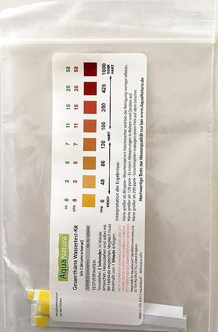 Aquanatura Agua Potable dureza del agua prueba dureza/dureza total (10 Tiras) fiable