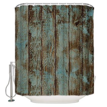 . T H Home Shower Curtain Set 72  W x 96  H Fabric Bathroom Showers  Stalls  and Bathtubs  Machine Washable   Rustic Old Barn Wood Modern Bath Curtain
