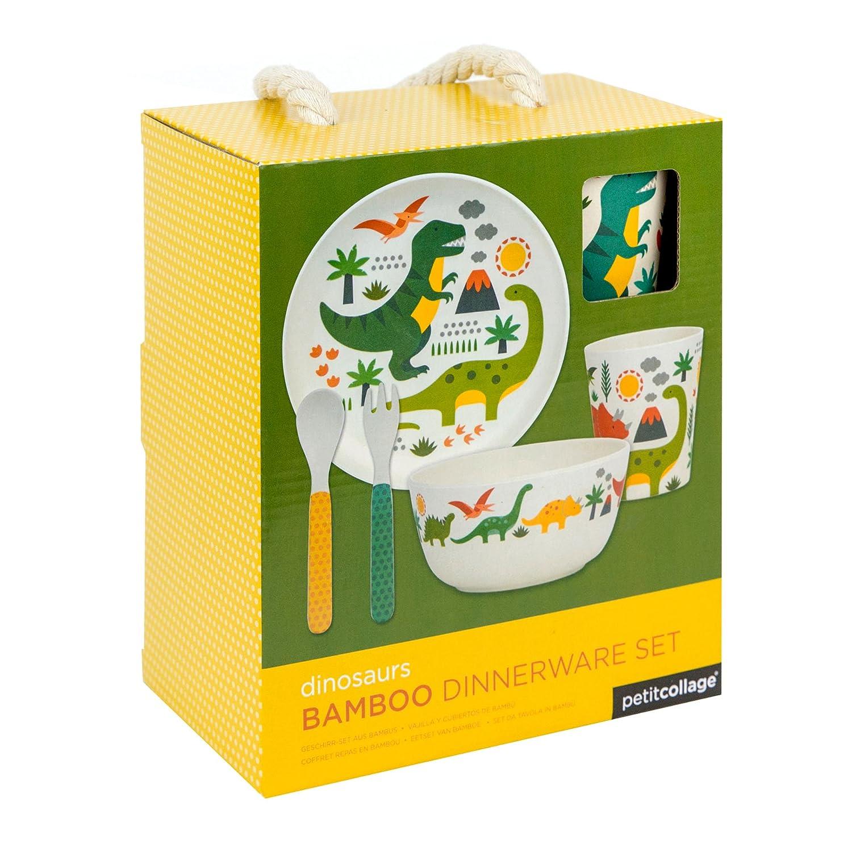 Petit Collage Geschirrset Bambus Dinosaurier, Multi/Coloured, 19 x 12.1 x 22 cm Wild & Wolf Ltd. BDS-DINOSAURS