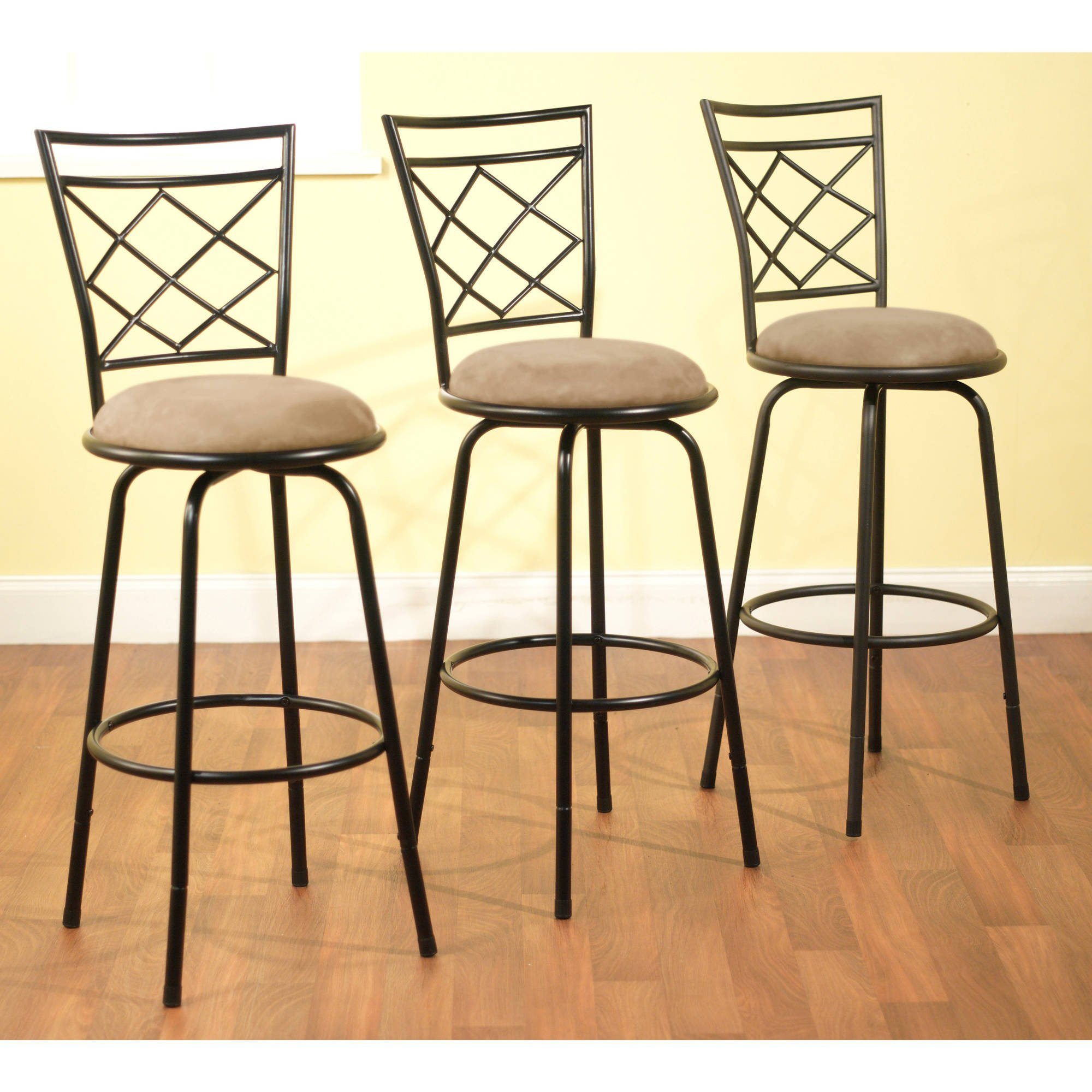Cross-back Design 3-Piece Avery Ajustable Height Barstool, Multiple Colors (Black)