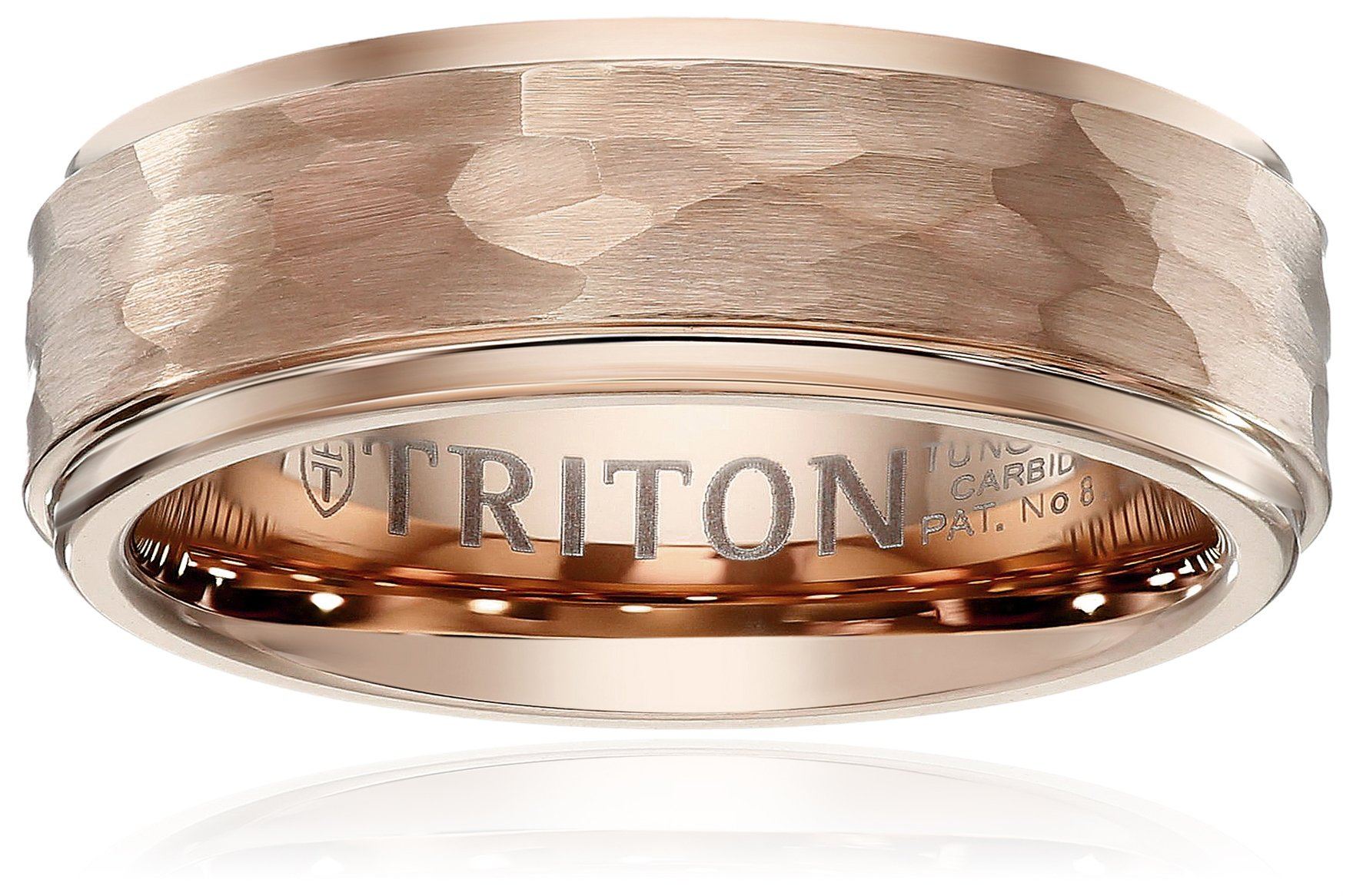 Triton Men's Rose Tungsten 8mm Hammered Wedding Band, Size 11