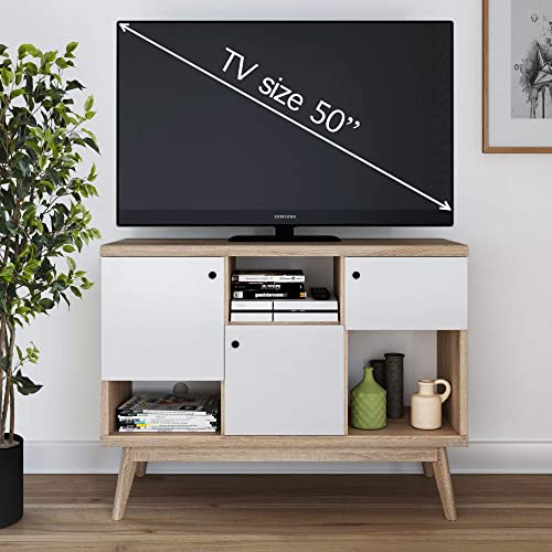 Living Skog Mid-Century TV Stand Media Console up to 50 inches – Multipurpose Display Storage Scandinavian Modern Media Display TV Stand White